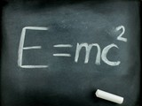 E=mc2,  Albert Einsteins physical formula on blackboard poster