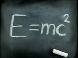 E=mc2,  Albert Einsteins physical formula on blackboard poster
