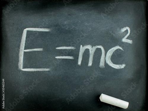 poster of E=mc2,  Albert Einsteins physical formula on blackboard