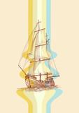 Vintage design waves and sailing boat