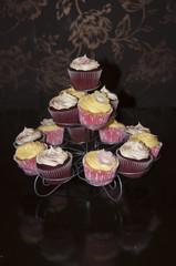 Red Velvet and Lemon Blossom Cupcakes on Stand
