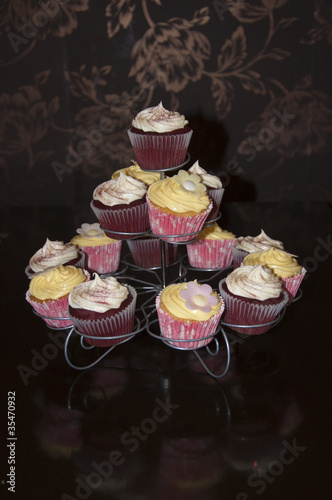 Red Velvet and Lemon Blossom Cupcakes on Stand