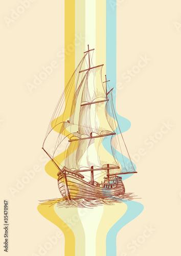 Vintage design waves and sailing boat - 35470967