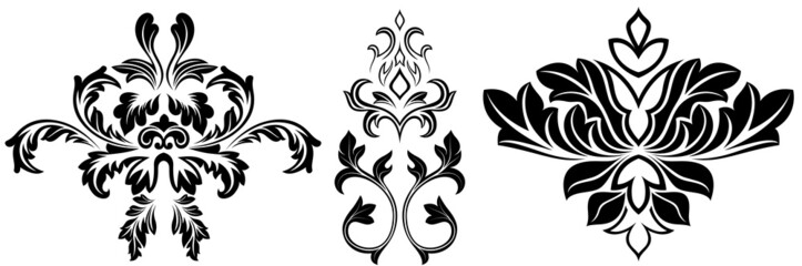 Vector Illustration Of Fancy Damask Elements