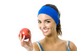 Woman in fitness wear with apple, isolated