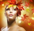 Fashion Woman Makeup. Autumn Style