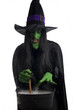 Evil witch stirring her misty cauldron, white background.
