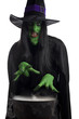 Witch casting spells over cauldron, white background.