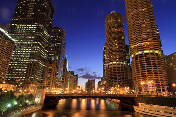 Downtown Chicago Riverwalk Nightscape