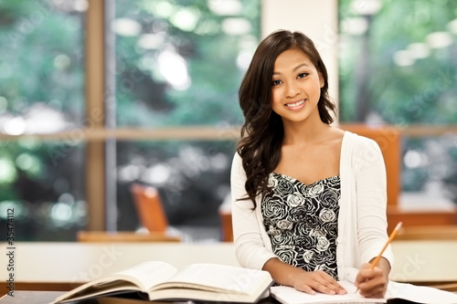 Asian student studying