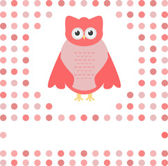 cute owl card. Baby girl arrival announcement card