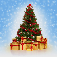 Christmas fir tree and gifts over blue background.
