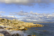 bright ocean stone coast and blue sky