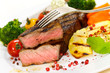 Rumpsteak mit grünem Brokkoli,Karotten,Bratkartoffeln