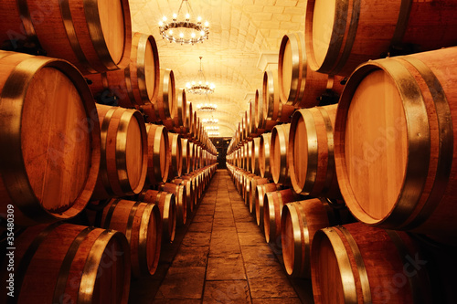 Poster Wine cellar with  barrels