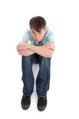 Sulky sullen unhappy boy
