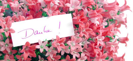 Danke! Mit Blumen