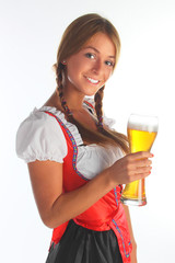The girl in a traditional Bavarian dress