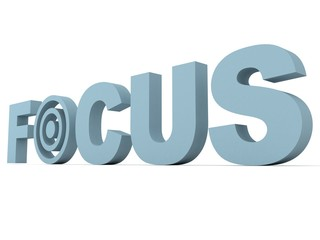 focus concept blue text with target sign
