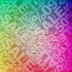 Sale colored typographic texture background