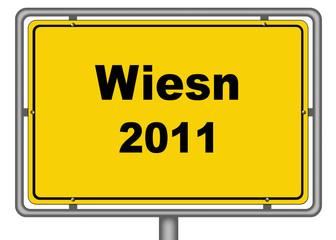 Ortseingangsschild Wiesn 2011