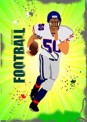 American football sport poster. Vector illustration