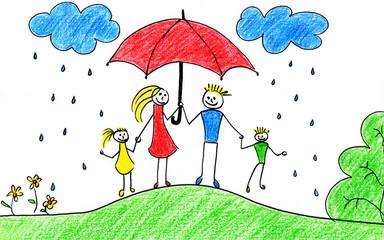 Family with umbrella