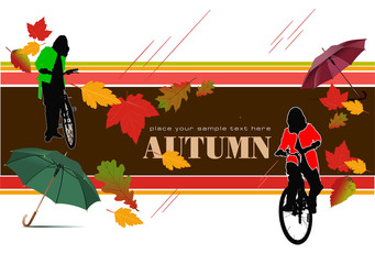 Abstract vector autumnal leaves pattern background with bicycle
