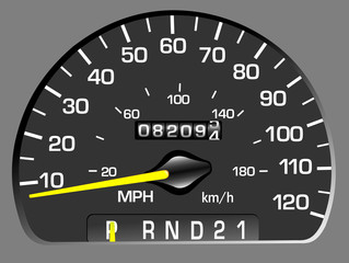 Vector illustration of a speedometer. Odometer
