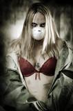 Portrait of Sad woman in breathing mask