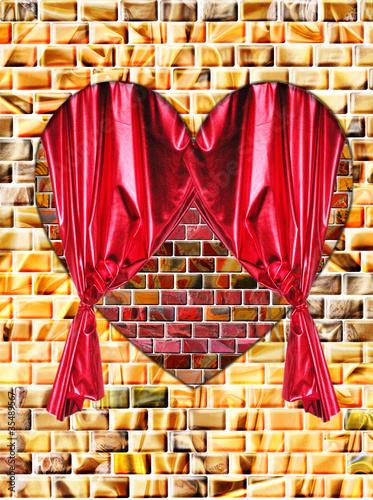 herz aus jaspis mit rotem vorhang auf einer wand von jc cards lizenzfreies foto 35489567 auf. Black Bedroom Furniture Sets. Home Design Ideas
