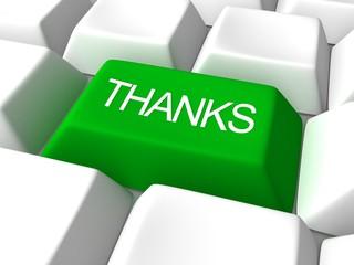 thanks green button on white keyboard