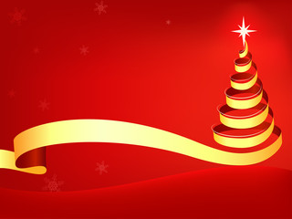 Christmas tree abstract with red background