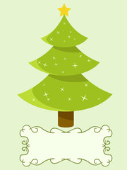Decorated christmas tree with blank banner