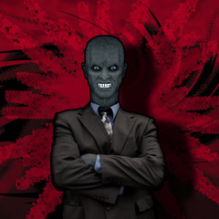 Evil businessman on red action background