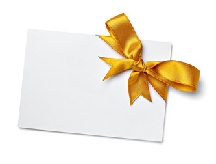 greeting card with ribbon note christmas