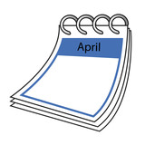 Illustration of the calender month April