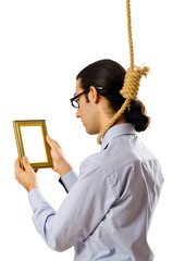 Man with noose around his neck