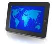 Tablet mit Weltkarte