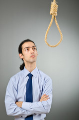 Businessman with thoughts of suicide