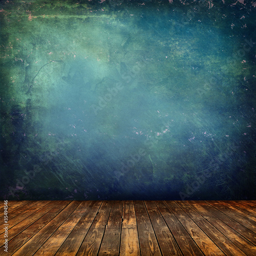 Foto op Canvas Retro Grunge interior blu