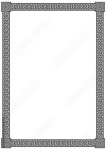 Vector frame with ancient Greek meander pattern