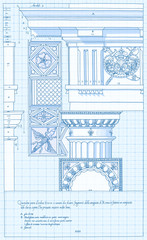 Blueprint - hand draw sketch doric architectural order