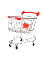 Empty shopping cart over white background