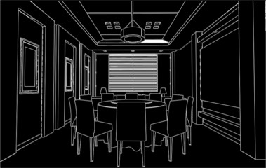Modern Dining Room Vector 01