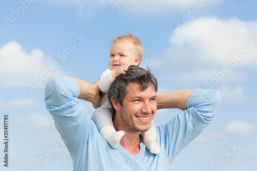 successful dad with baby