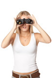 Front view of blond woman looking through binoculars