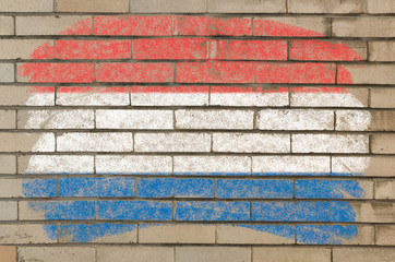 flag of Netherlands on grunge brick wall painted with chalk