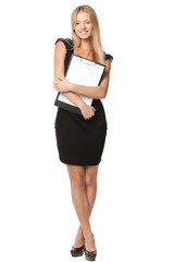 Full length of business woman holding clipboard