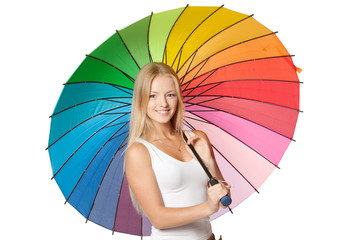 Beautiful blond female under umbrella over white